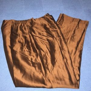 Talbots,brown/bronze silk stretchy trousers.12W P